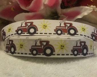 "3 yards, 7/8"" red tractor design grosgrain ribbon"