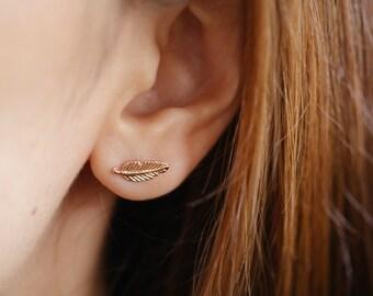 Rose Gold Leaf Earrings, Simple Leaf Earrings, Tiny Leaf Stud, Leaf Stud Earrings, Leaf Earrings, Leaf Ear Studs, Leaf Jewelry