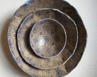 Jen's Nesting Bowls Handmade Ceramic Stoneware Pottery (made to order)