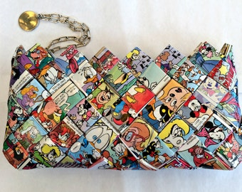 Recycled Mickey Mouse comic book purse, disney purse, Eco Friendly purse,candy wrapper purse,
