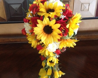 Sunflower bouquet, country wedding, rustic wedding bouquet.