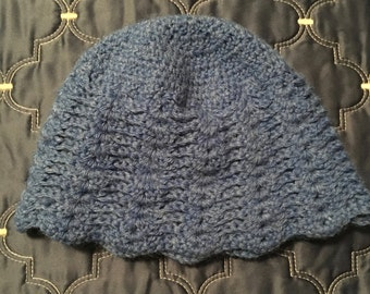 Scalloped Blue Wool beanie