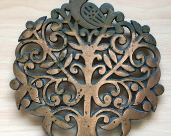 Vintage Copper Cast Iron Kitchen Trivet Partridge in a Pear Tree Wall Hanging