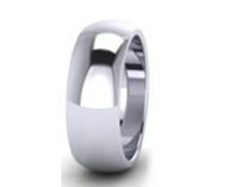 7mm Wide - PLATINUM Wedding Ring - Any size from P 1/2 - Z ( US SIZE - 8 1/4 to 12 1/2 )