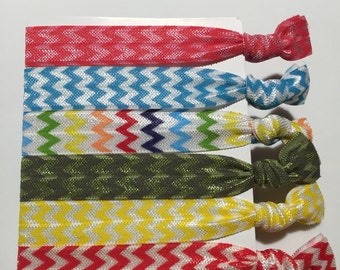 Chevron Hair Ties - mix (set of 6)