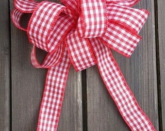 """8"""" Red and white gingham wreath bow."""