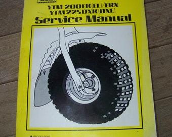 Vintage Yamaha Three Wheeler Service Manual YTM 200 EK  225DZK