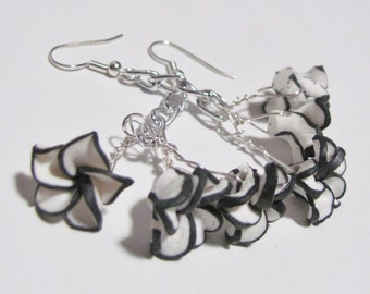 Polymer clay earrings, Floral earrings, Black and white, Flower earrings, Dangle earrings, Woodland