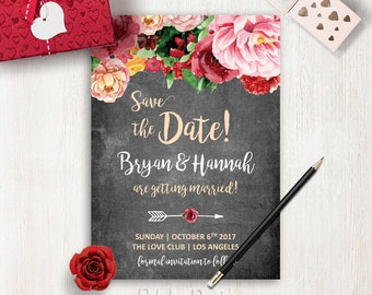 Printable Save the Date Card Peony Save the Date Chalkboard Wedding Save the Date Cards Watercolor Floral Save the Date Wedding Invite Boho