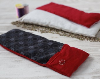 Yoga Savasana Eye Pillow with Removable and Washable Cover, Lavender and Flax Seed Filling, Red&Black Color