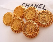 Authentic Very Rare CHANEL Buttons, Chanel Button with Coco Profile, Very Rare Vintage, Coco Chanel Paris France, Gold Tone, Choose Quantity