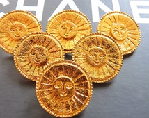 Authentic Very Rare CHANEL Buttons, Very Large Vintage Gold Tone Metal with Smiling Sun Face, Signed, Choose your Quantity