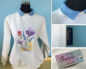 Flower Sweater with collar , winter white sweatshirt quaint swirly detailed embroidery designed by artist Sophie Appleton , Country Swirls