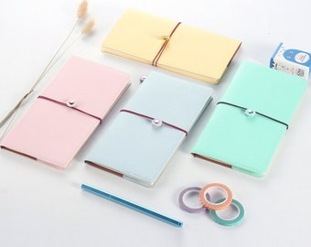 Pastel Traveler's Notebook, Refillable Journal, Fauxdori, Faux Leather Cover - PJ071