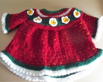 Strawberry Hand Knitted pretty dress.  3-6 months.