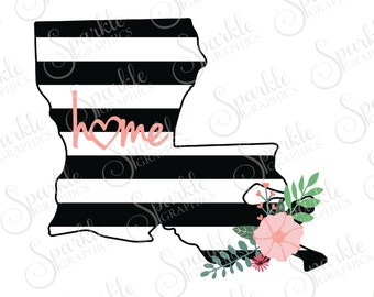 Louisiana Cut File Stripes Flowers State Black And White Stripes State Svg Dxf Eps Png Silhouette Cricut Cut File Commercial Use