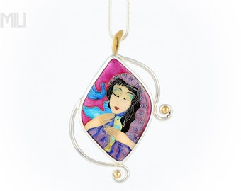 Birds of Dream Pendant with Cloisonné  Enamel in Silver