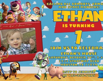 Toy Story Invitation for Birthday Party with Picture! Digital File, Print at Home.