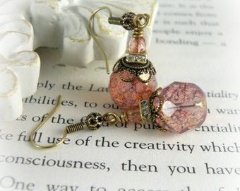 LADY MARY Downton Abbey Earrings Pink Victorian Earrings October Birthstone Jewelry Renaissance Earrings Jewelry