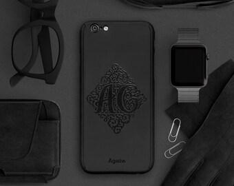 Personalised monogram iPhone 6 case, full protection iPhone 6s case, iPhone 6 plus case, customise initials iPhone case black grey men