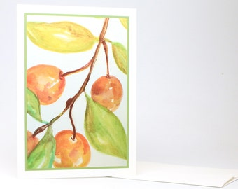 "Fine Art ""Cherries"" Blank Single Card With Envelope"