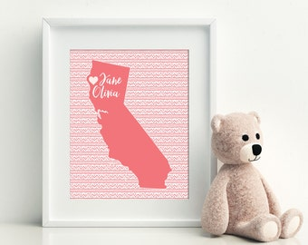 Baby Shower Newborn Gift with Birth Statistics Nursery Decor Wall Art Personalized Print