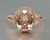 8x10mm Morganite Engagement ring Rose gold,Diamond wedding band,14k,Oval Cut,Gemstone Promise Bridal Ring,Claw Prongs,Split Shank,Pave Set