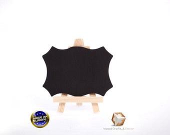 Set of 2 natural wood easel chalkboard place card holder wedding blackboard