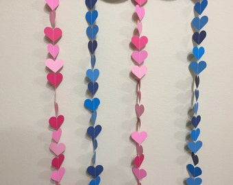 Paper Heart Garland- Pink/Blue-Baby shower (Showered with love)