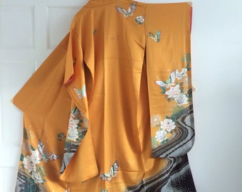 Yellow butterfly furisode