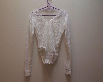 Sheer White Lace Long-Sleeved Bodysuit