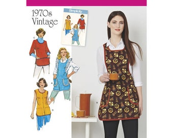 Sewing Pattern for 1970's Vintage Womens Aprons, Simplicity 8152, New Pattern from 1970's Simplicity Archives, Art Smocks