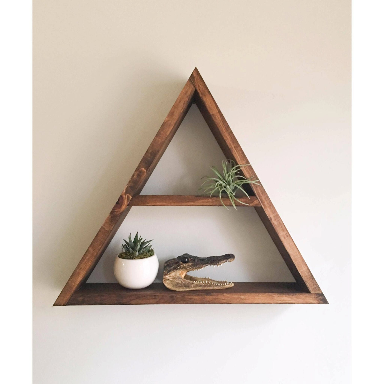 Triangle shelf crystal shelf shadow box wood by araehandcrafts - Triangular bookshelf ...