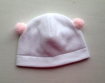 Baby girl fleece hat, fleece hat with pink pompoms, baby hat