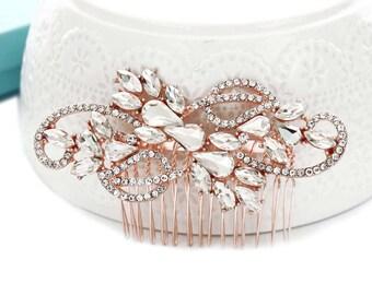 Bridal hair comb, ROSE GOLD, Wedding hair accessories, Wedding hair comb, Crystal hair comb, Rhinestone hair comb, Rose gold comb 15215RG