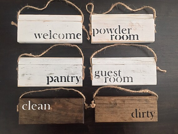 SET of 4- Distressed Vintage/ Rustic Farmhouse Door Hanger, Door Knob Wood Signs. Pick yoir favortie 4 Sayings.