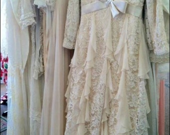 Cream Ruffle & Lace dress