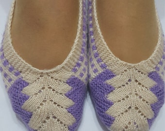 Women slippers, White - lilac socks, turkish socks , Girls shoes, home shoes,