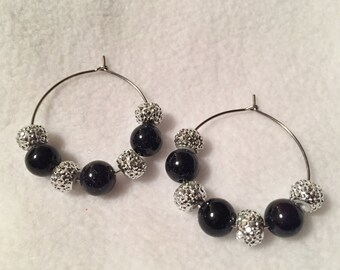 Black and Silver Sparkle and Shimmer Hoop Earrings