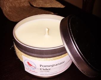 8oz pomegranate cider soy candle