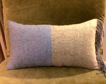 Grey & Blue Cashmere Pillow