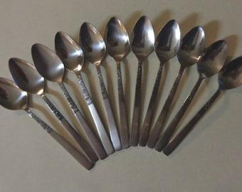 Rose Serenade silverware National Vintage Stainless Flatware 11 Teaspoons