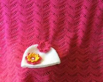 Pink baby blanket, baby shower gift set, crochet baby blanket, handmade baby set, baby beanie, pink blanket, white baby hat,