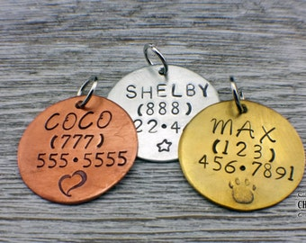 Pet Dog Tags, Hand Stamped Tags, Personalized Pet Tags, Custom Dog Tags, Aluminum, Copper, Brass, Dog, Pet Tags