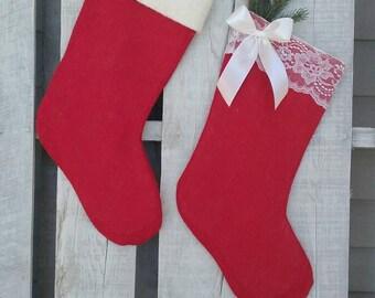 Santa and Mrs. Claus Stocking Set, Red Burlap Stockings, Christmas Stockings, Rustic Christmas Decor