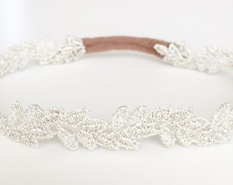 Metallic Silver Leaf Lace Baby Headband Newborn Prop