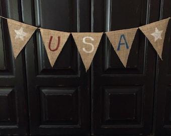 Patriotic USA burlap banner