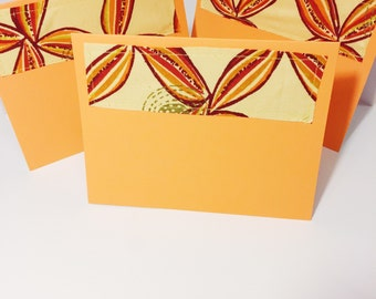 Orange and Gold Blank Greeting Card with Envelope // Bright Orange Blank Card // Floral African Print Greeting Card