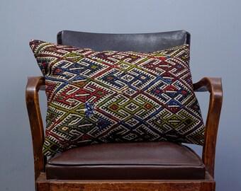 Turkish kilim pillow, Decorative pillow, Vintage home decor, Cushion cover,Area pillow,Boho pillow, Kilim rug pillow, 16x24 inches, 40x60 cm