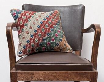 16x16 inches (40x40 cm) Turkish Mersin embroidery cicim kilim pillow, Decorative pillow, Vintage home decor, Boho pillow, kilim pillow